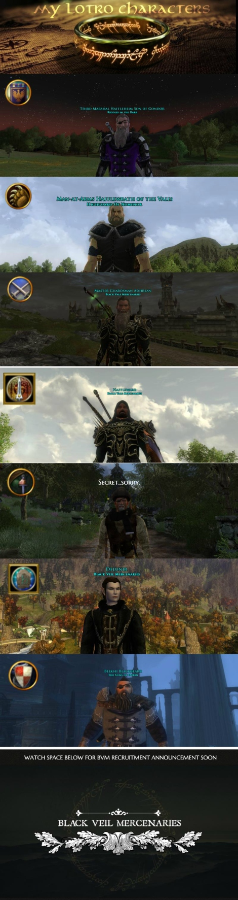 LOTRO- MY CHARACTERS