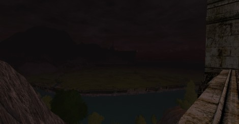 You can barely see the silhouette, but that's Minas Tirith in the distance