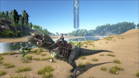 Our very first carnivore, the Carno. You can ride most dinos in ARK, but you will need to learn the saddle craft and have the appropriate mats.